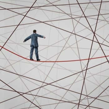 22667360 - focused on strategy with a businessman as a high wire tight rope walker confronting adversity with a web of confused tangled group of wires trying to distract from the planned business goal for success